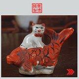 景德镇文革老厂货瓷器/收藏/古瓷器/雕塑瓷--小猫钓鱼笔插