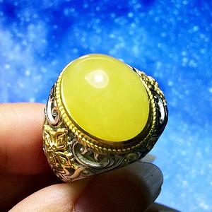 完美无瑕满蜜大戒指!波罗的海天然原矿无优化蜜蜡银鎏金霸气扳指