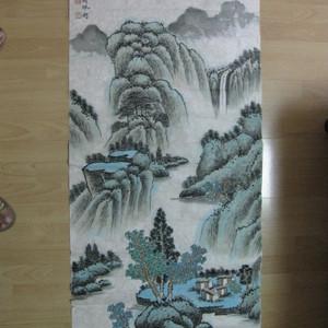 非常漂亮的青绿山水。胡佩衡作品96 48厘米