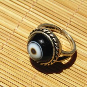 漂亮的 天然单眼玛瑙 戒面 配银托 戒指