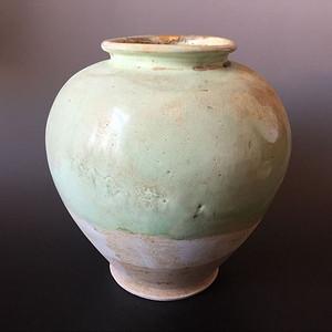 唐 巩县窑绿釉万年罐