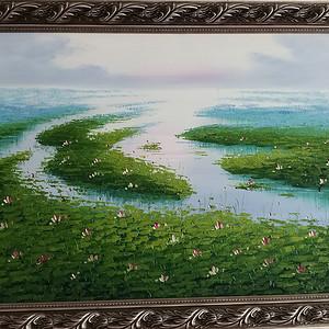 手绘风景油画  荷  不含画框