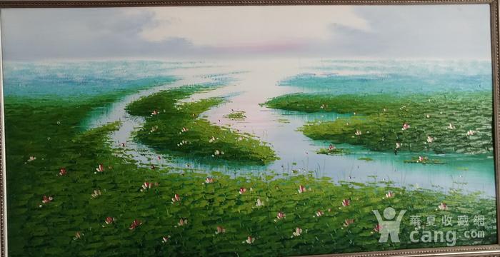 手绘风景油画  荷  不含画框图2