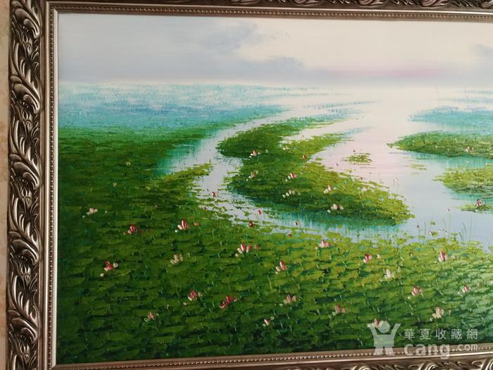 手绘风景油画  荷  不含画框图3