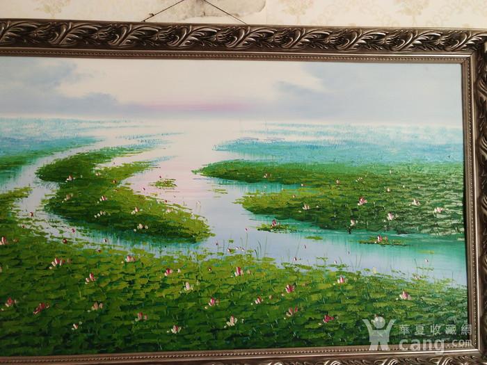 手绘风景油画  荷  不含画框图4
