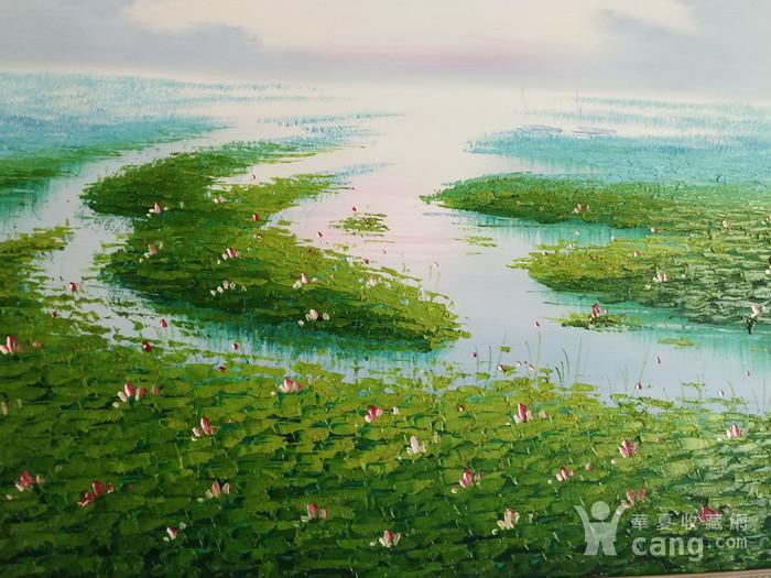 手绘风景油画  荷  不含画框图5