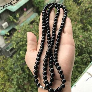 联盟 缅甸天然A货翡翠 墨翠108颗圆珠项链手串两用款