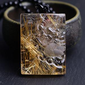联盟 一物一图天然钛晶板钛生肖龙吊坠
