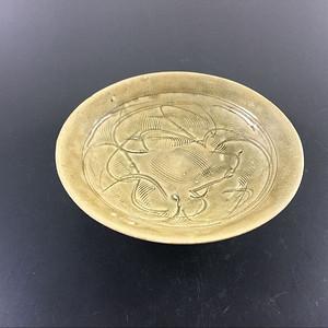 北宋 珠光青瓷篦纹划花折腹盘子