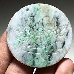 天然翡翠 兰竹君子佩 包浆老厚 手工雕刻