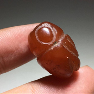 清晚期 天然红 玛瑙 蝉型珠 及其别致 手工雕刻