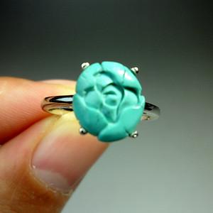 绿松石精雕花开富贵银镶戒指!天然原矿高瓷!