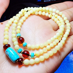 珍贵白蜜!波罗的海天然原矿蜜蜡配净水血珀高瓷绿松石佛珠手链