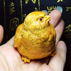 萌萌小鸡仔!太行崖柏雕刻超级可爱小鸟一家三口鸟巢安神摆件!