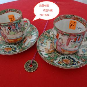 408 TJ3104 民国广彩人物故事纹小直茶杯碟两套成对