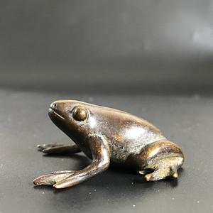 日本回流 清晚民国铜质青蛙小玩件