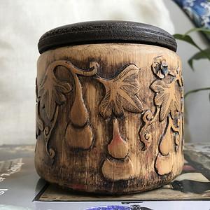 清代竹雕小罐一只