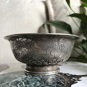 精品 民国老银錾刻龙凤花卉小碗