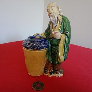 446 2068 民国广东石湾低温釉彩小瓷人 有水缸