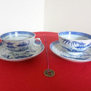 348 2063 光绪山水楼阁纹青花小茶杯碟两套 圆杯