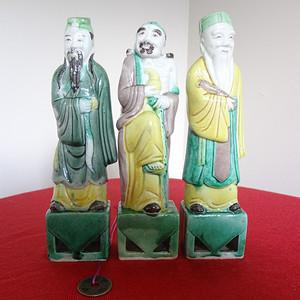 394 340 民国素三彩八仙人物瓷塑之吕洞宾 铁拐李 张果老