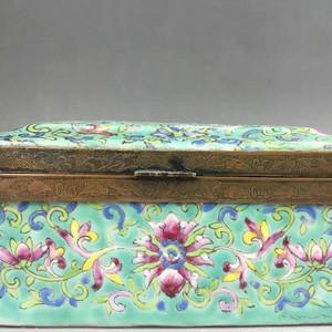 道光精品 粉彩绿地宝相花纹珠宝盒