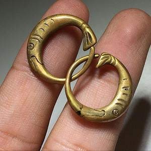 铜鎏金 连年有鱼 耳环 一对 包浆老厚 工艺 精美