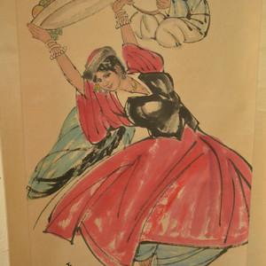 名家名人国良手绘原稿人物纹原画老字画
