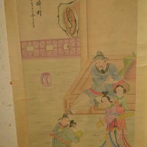 名家名人唐寅手绘原稿李白醉卧人物纹原画老字画