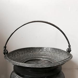 回流精品 19世纪镀银满工錾刻果盘