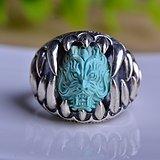 典藏级原矿三无极品高瓷高蓝绿松石精工龙头戒指