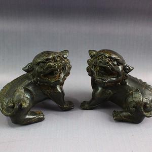 民间收藏 铜器双狮摆件