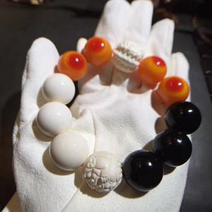 极品文玩之最 赫赫有名的黑红白 XJ NT 猛犸象牙多宝手串20mm