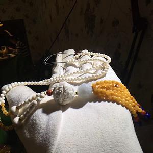 极品猛犸象牙貔貅抱珠20mm单珠搭配猛犸象牙4mm项链 支持复检