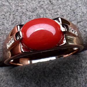 纯天然阿卡牛血红珊瑚戒指 925银镶嵌 电镀3层18k金 支持复检