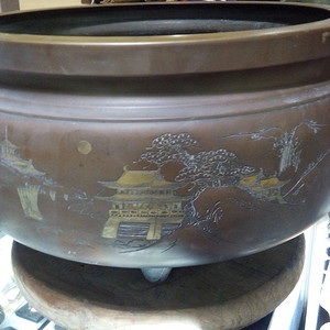 520      回流错金巨大铜火盆  精品