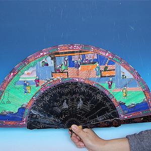 收藏级重器 清代人物亭台楼阁绘画漆器扇