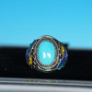 8.93g掐丝珐琅镶嵌美国睡美人高瓷蓝松戒指