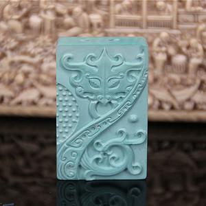 收藏级精品 20.52g苏工雕高瓷原矿松石瑞兽吊坠