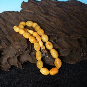 收藏级精品 50.09g鸡油黄老蜜蜡桶珠项链
