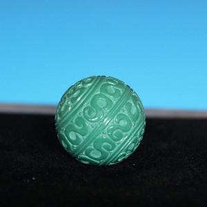 收藏级精品 22mm刻花原矿高瓷高绿玉化松石珠子