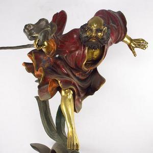 19500g 精铜铸造 彩绘鎏金达摩一苇渡江