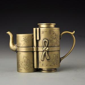 白铜童戏图酒壶
