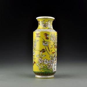 瓷器珐琅彩鸟禽图瓶