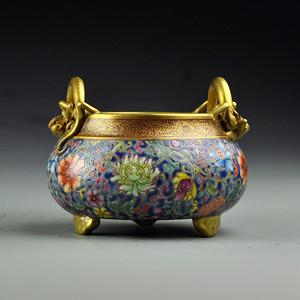 铜鎏金缠枝莲螭龙炉