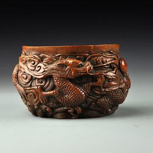 竹雕 双龙戏珠碗