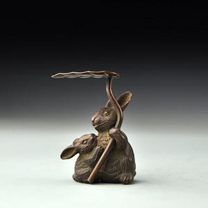 紫铜茶宠小白兔