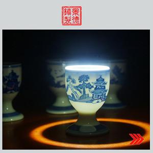 景德镇文革厂货瓷器 精品收藏 髙白泥蛋壳青花梧桐高脚酒杯4个