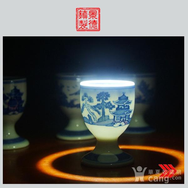 景德镇文革厂货瓷器 精品收藏 �{白泥蛋壳青花梧桐高脚酒杯4个图1