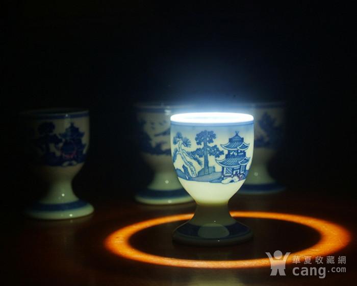 景德镇文革厂货瓷器 精品收藏 �{白泥蛋壳青花梧桐高脚酒杯4个图2